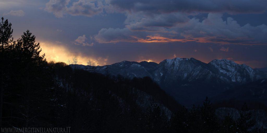Memoriante e Penna di Lucchio al tramonto